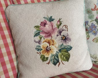 Country English Farmhouse Pansy and rose Needlepoint Pillow