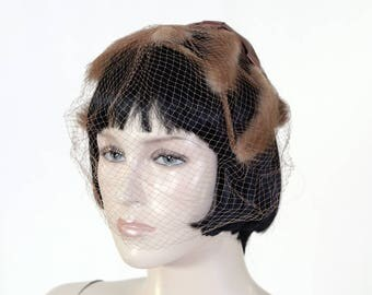 Vintage Women's Brown Fur Fascinator Hat - Church Hat - Mid Century Hat - Brown Veil - Over Sized Bow - Valerie Modes Label