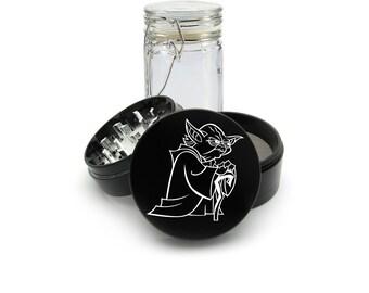 Star Wars character Yoda Laser Engraved Grinder Plus FREE Glass Jar included! 4 Piece Premium Black CNC Herb Grinder  L0286