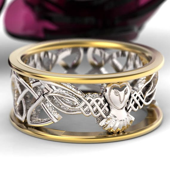 Celtic Owl Wedding Ring, Gold Owl Ring, Barn Owl Ring,, 2-tone Gold Owl Ring, Silver 10K 14K 18K Gold, Palladium Platinum, Barn Owl CR-1016