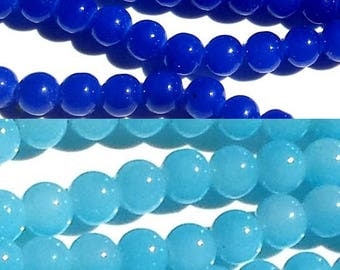 40 blue beads, dark or light blue glass 08mm, jelly (sweet) way