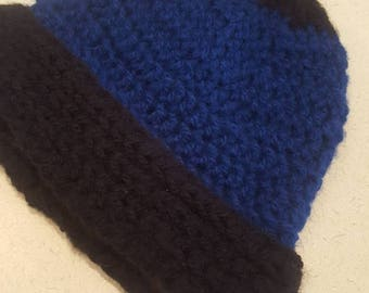 Blue and Black Winter Fold Up Hat | Adult Size | Warm Winter Accessory