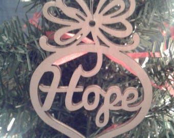 """Wooden Christmas Ornament """"Hope"""""""