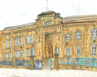 BRADFORD COLLEGE ART, Lister Building, Bradford Painting, Yorkshire Art, Signed Print, Watercolor Painting, Clare Caulfield, Pencil Drawing
