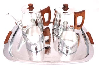 Vintage Sona Tea or Coffee Set, Stainless Steel Teak, Sugar Bowl, Milk Jug, Mid Century Tea Set, Retro Tea Service Tray, Sona Coffee Set