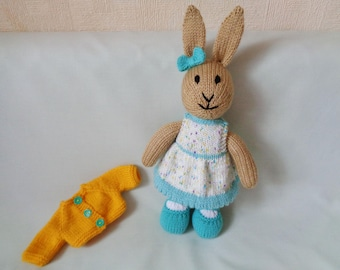 Rabbit, Hand Knitted Rabbit, Knitted Bunny, Jenny the dressed Bunny rabbit, Handmade Rabbit, baby gift, child gift, Easter Bunny Easter Gift