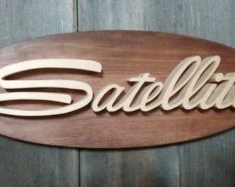 1966 Plymouth Satellite Emblem Oval Wall Plaque-Unique scroll saw automotive art created from wood for your garage, shop or man cave.