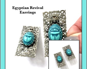 Egyptian Revival Scarab Earrings, Ornate Filigree Silver Tone Metal Mount, Resin Turquoise Scarab Stone, Long Rectangle, Vintage Clip-on