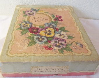 Vintage 1950s Unused, BEST WISHES All Occasion Feature Assortment Greeting Cards Paper Ephemera Box of 12  in Original Box