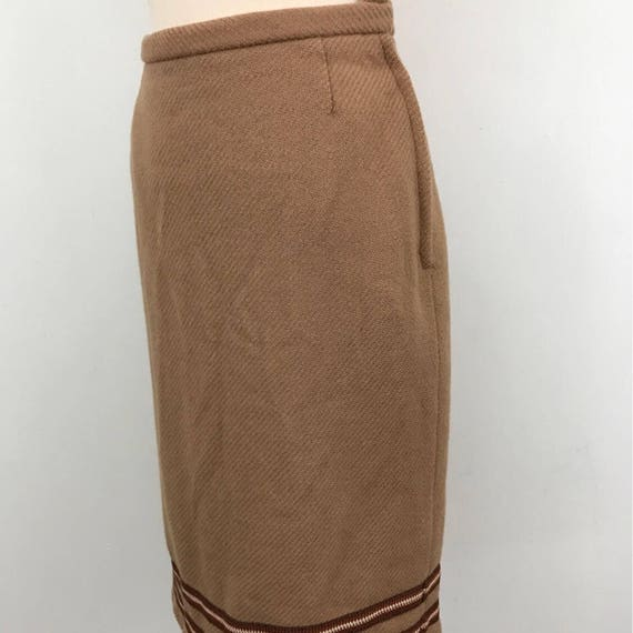 vintage pencil skirt camel wool knee length skirt UK 10 12 classic straight skirt Goodwood Twinwood 60s does 40s thick