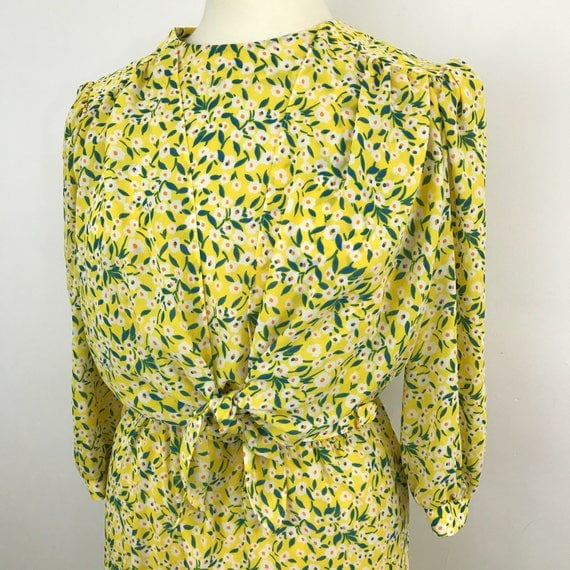 Vintage dress bright yellow dress crepe polyester chintzy floral sexy secretary office look 1980s dress UK 14 avant garde 80s glam