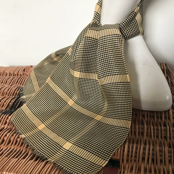 1940s scarf checkered satin gold yellow check stripes black neck tie evening scarf 40s silky fringed 30s dog tooth