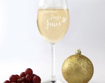 Engraved Christmas 360ml Wine Glasses