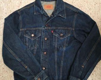 Vintage 1980s Levi's Blue Denim Jacket Size 42 Jean Button Up Levi Strauss Outerwear Rocker 1990s 80s 90s Size Large L