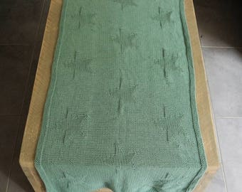 Knitted table runner with star pattern - handmade with Green / Grey Eco Friendly wool