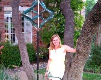 "BreezeWay Kinetic Wind Sculpture ""Morning Glory"" Kinetic Art|Garden Sculptures|Copper Sculpture|Metal Art|Wind Yard Art|7th Anniversary Gift"