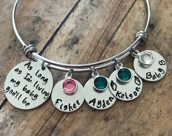 Custom Handstamped Mother's Bracelet, Personalized Charm Bracelet with Names and Birthstones, As Long as I'm Living My Baby You'll Be