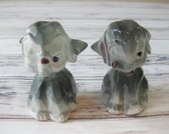 Ceramic Elephant Salt and Pepper Shakers, Pottery Salt and Pepper Shakers, Japan