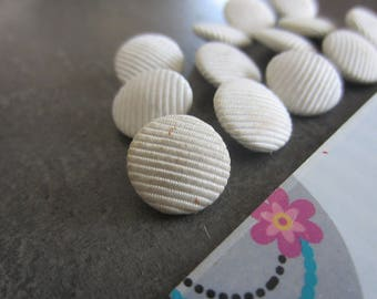 round buttons 1.2 cm white fabric and metal