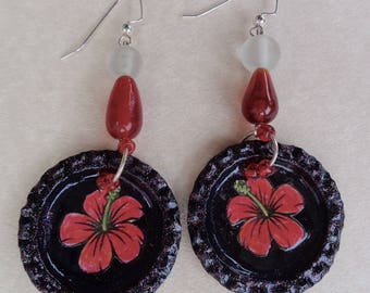 Handmade Beaded Hawaiian Flower earrings  (E228)