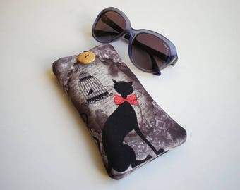 Glasses case, sunglasses case, eyeglasses case, Cat, Case for sunglasses, Quilted eyeglass case, glasses sleeve, sunglasses sleeve, cat case
