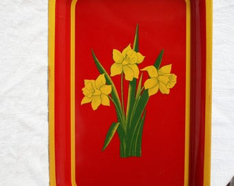 Vintage Red and Gold Trim Metal Tray with Daffodil Design