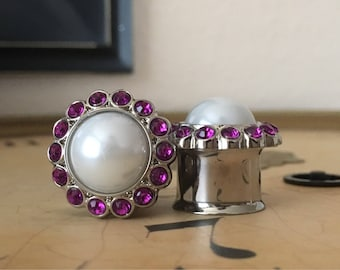 Clearance: Purple and White Pearl Plugs, gauges  5/8, 3/4, 7/8