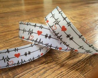 5 yards 7/8 nursing ribbon. Nursing ribbon, nurse ribbon, grosgrain ribbon, craft, crafting, sewing, scrapbook, hairbows