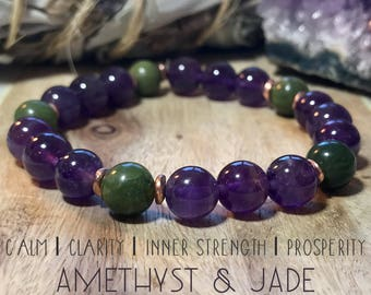 Amethyst and Jade bracelet.