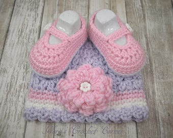 Baby Girl Crochet Hat and Shoes, Mary Janes, Pink and Lavender