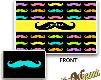 Mustache PLACEMAT, Customized Dinnerware, Kids Tableware, Kids Dinnerware Place Setting, Kids Place Mat, Childrens Placemat,Personalized Mat