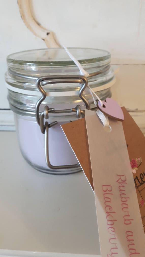 Rhubarb and blackberry candle. Kilner jar. Beautiful soy candle scented with rhubarb and blackberry.  Vegan candles.  Eco soy.  Wales UK