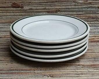 Vintage Shenango And Warwick Green Stripe Bread Plates 1940s & 50s Restaurant Ware