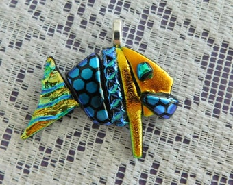 This Charming Aqua Blue and Gold Bone Fish Pendant  - Fused Dichroic Glass Pendant