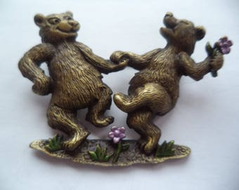 Vintage Signed JJ Bronze pewter Dancing Bears Brooch/Pin