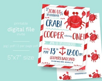 Crab Party Birthday Invitation DIGITAL FILE Summer Birthday Pool Party Water Theme Crabby First Birthday Summertime Party Water Birthday