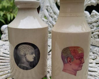 Vintage Victorian pot with colour phrenology decal