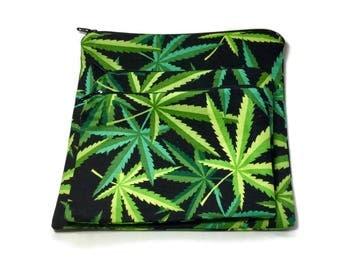 Reusable Sandwich Snack Bags Set of 3 Zipper Pot Leaves Marijuana Stash Bags Alexander Henry