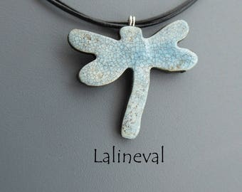 Blue Dragonfly Raku pendant, crew neck collar