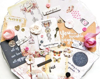 Inspiration Kit / Prima Love Clippings / New Prima / Scrapbook Kit / Embellishments / Scrapbooking / Junk Journal Kit / Shabby Chic Paper