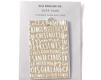 Christmas Words Typography Gift Tag Set - Set of 8 Gift Tags - Gift Wrap Tags - Christmas Gift Tag -