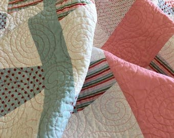 Handmade baby quilt, baby girl gift, made in Canada