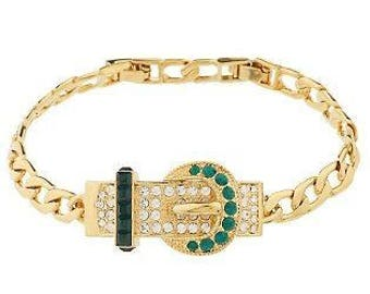 Jackie Kennedy Buckle Bracelet - 24K GP with Crystals & Simulated Emeralds, Box and COA - Sz 7 or 8