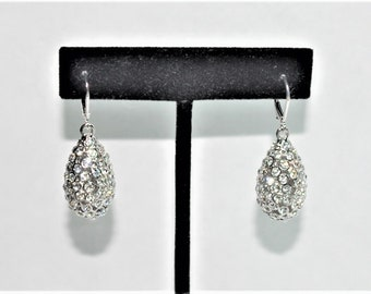 Joan Rivers Egg Earrings -  Silver Tone with Crystals - S2410
