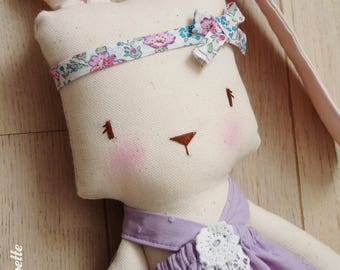 Wild rose, rabbit doll 40 cm - fabric - bunny doll - rag doll doll - handmade doll - cloth doll - fabric doll