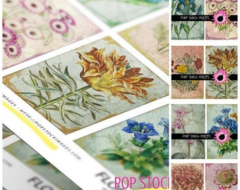 SALE: VINTAGE Floral Art Cards ATC Aceo Backgrounds - Collage - Altered Art - Journaling Cards - Digital Scrapbooking - Tags