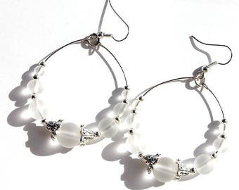 """Ring with transparent frosted glass beads earrings: """"Winter morning"""""""