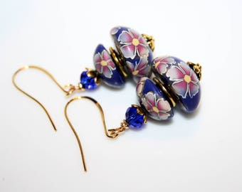 Polymer flowers Pink-Purple and cobalt blue earrings