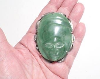 Sterling Silver and Chrysoprase Aztec Tribal Face Mexico Figural Brooch