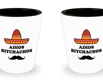 Adios Bitchachos Funny Shot Glass Gift Sombrero SET of 2 Muchacho Mustache
